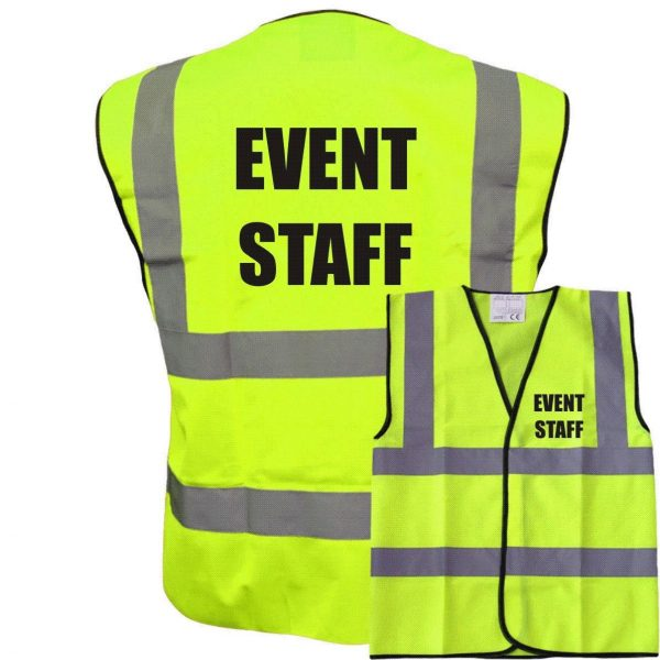Event Staff Pre Printed Hi Vis Safety Vest/Waistcoat EN ISO 20471
