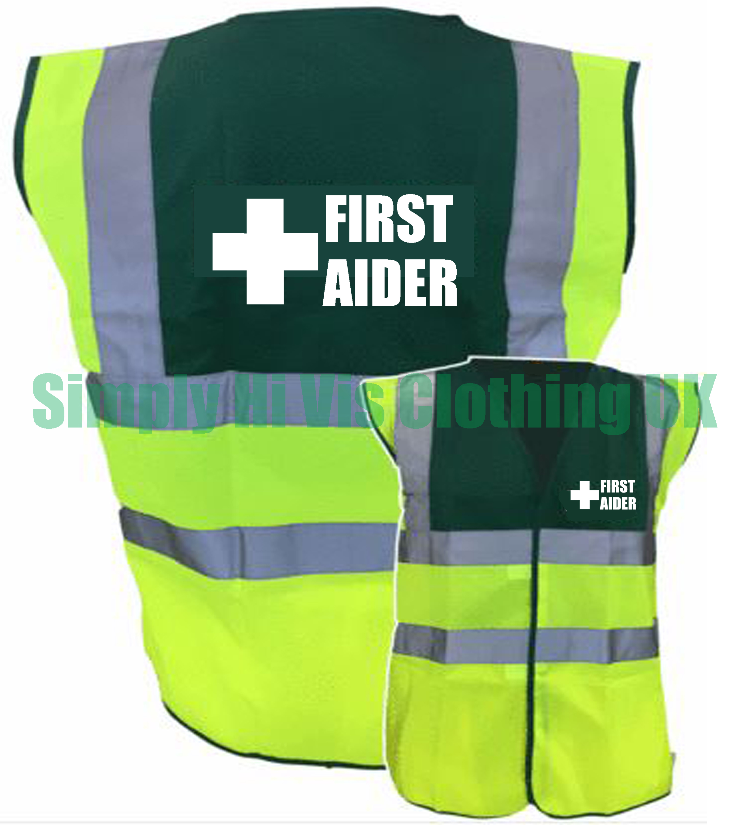 Green Yellow Two Tone Hi Vis Safety Vest Waistcoat Pre