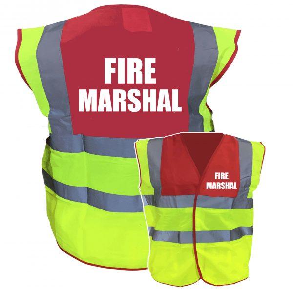 Fire Warden Red//Yellow Two Tone Hi Vis Safety Vest//Hi Viz Waistcoat