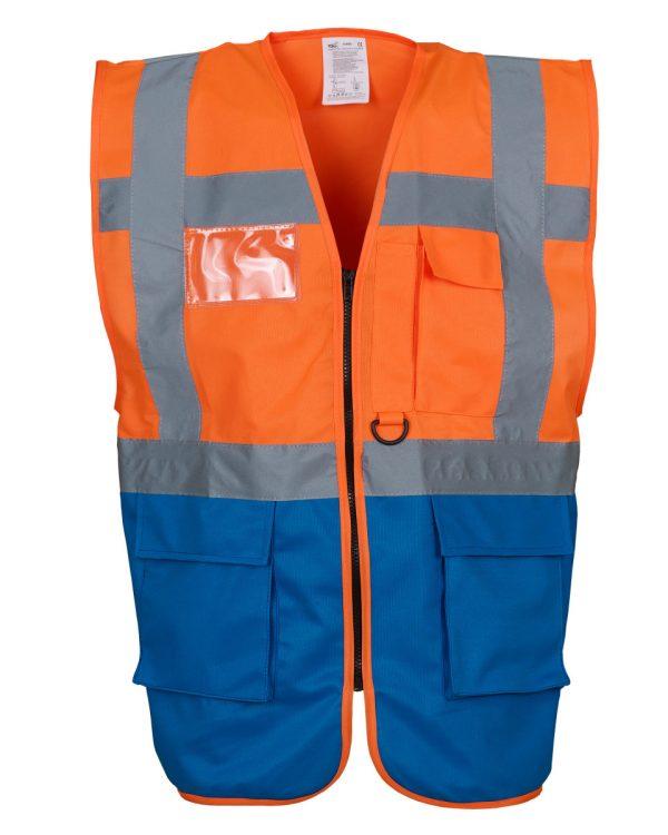 4XL, Black Hi Vis Security Vest Black Reflective Waistcoat with Zip Phone /& ID Pocket