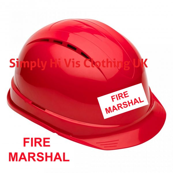 Fire Marshal Vented Safety Helmet Hard Hat Red Amp White
