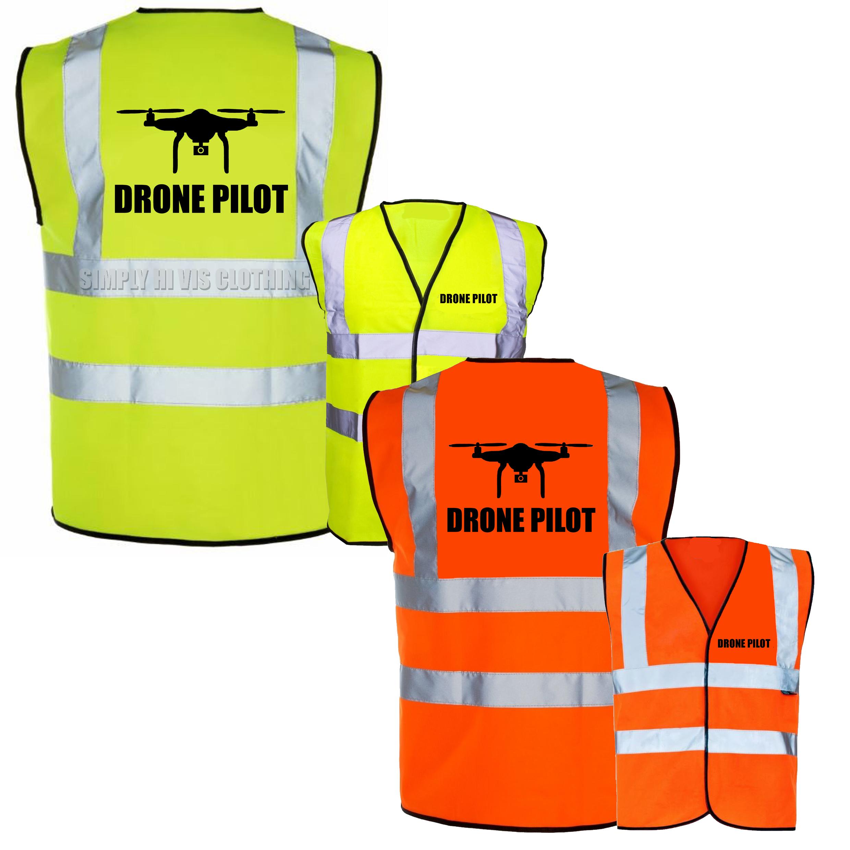 Tabard Hi Viz Drone Registered Pilot CAA Printed Orange Hi-Vis Safety Vest Waistcoat
